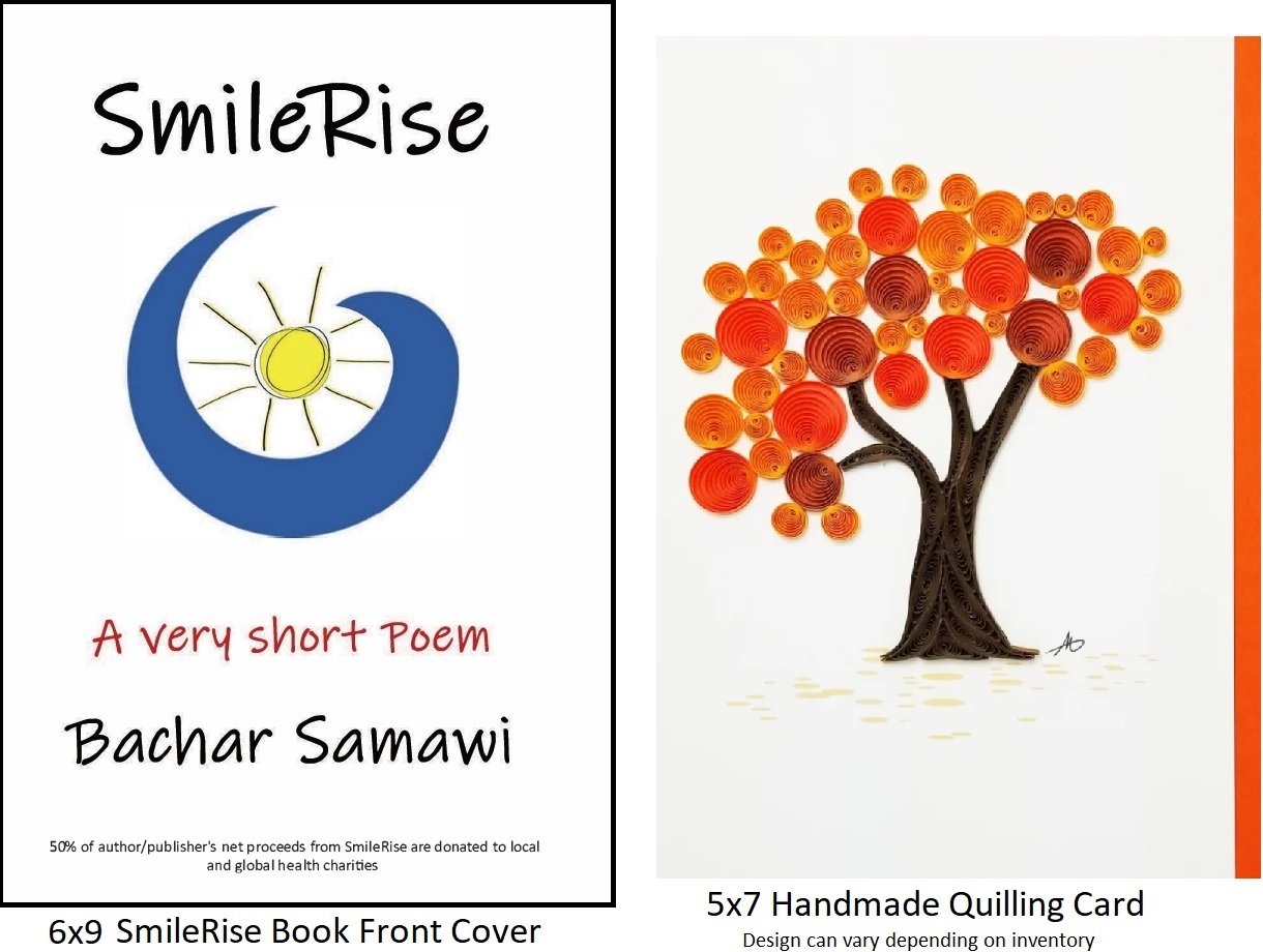 SmileRise: A very short Poem - Book Cover plus Handmade Quilling Greeting Card